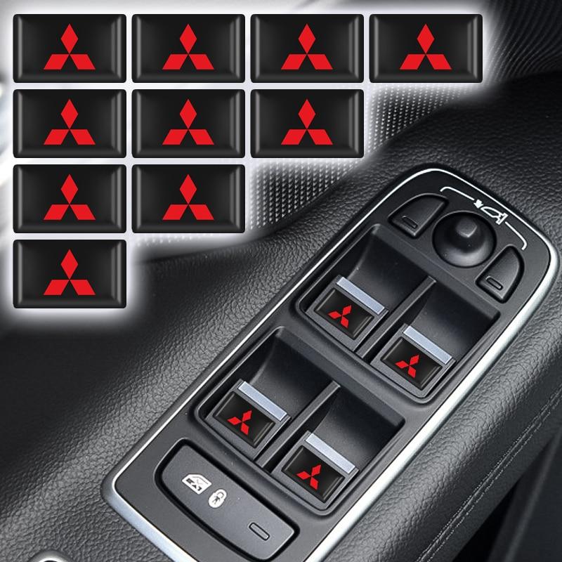 10 Pcs 3D Mobil Styling Epoxy Resin Emblem Lencana Stiker Decals untuk Mitsubishi Asx Lancer Pajero 4 Outlander 3 XL l200 Aksesoris