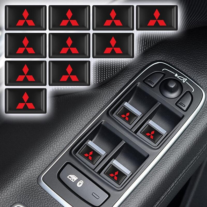 10 Uds 3D estilo de coche de resina epoxi emblema insignia pegatina calcomanías para Mitsubishi asx lancer pajero 4 outlander 3 xl l200 Accesorios