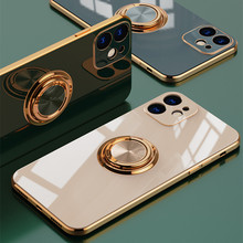 Coque de luxe en Silicone avec anneau en métal pour iPhone, étui souple avec support pour iPhone 12, 11 Pro, Xs Max, Mini SE, X, XR, 7, 8 Plus