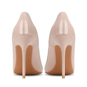 Image 2 - Marke Schuhe Frau High Heels Damen Schuhe 10CM Heels Pumps Frauen Schuhe High Heels Sexy Schwarz Beige Hochzeit Schuhe stiletto B 0043