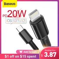 Baseus 20W USB C kablo iPhone için 12 11 Pro Max XR 8 PD hızlı şarj iPhone şarj için kablo için MacBook iPad Pro C tipi kablo