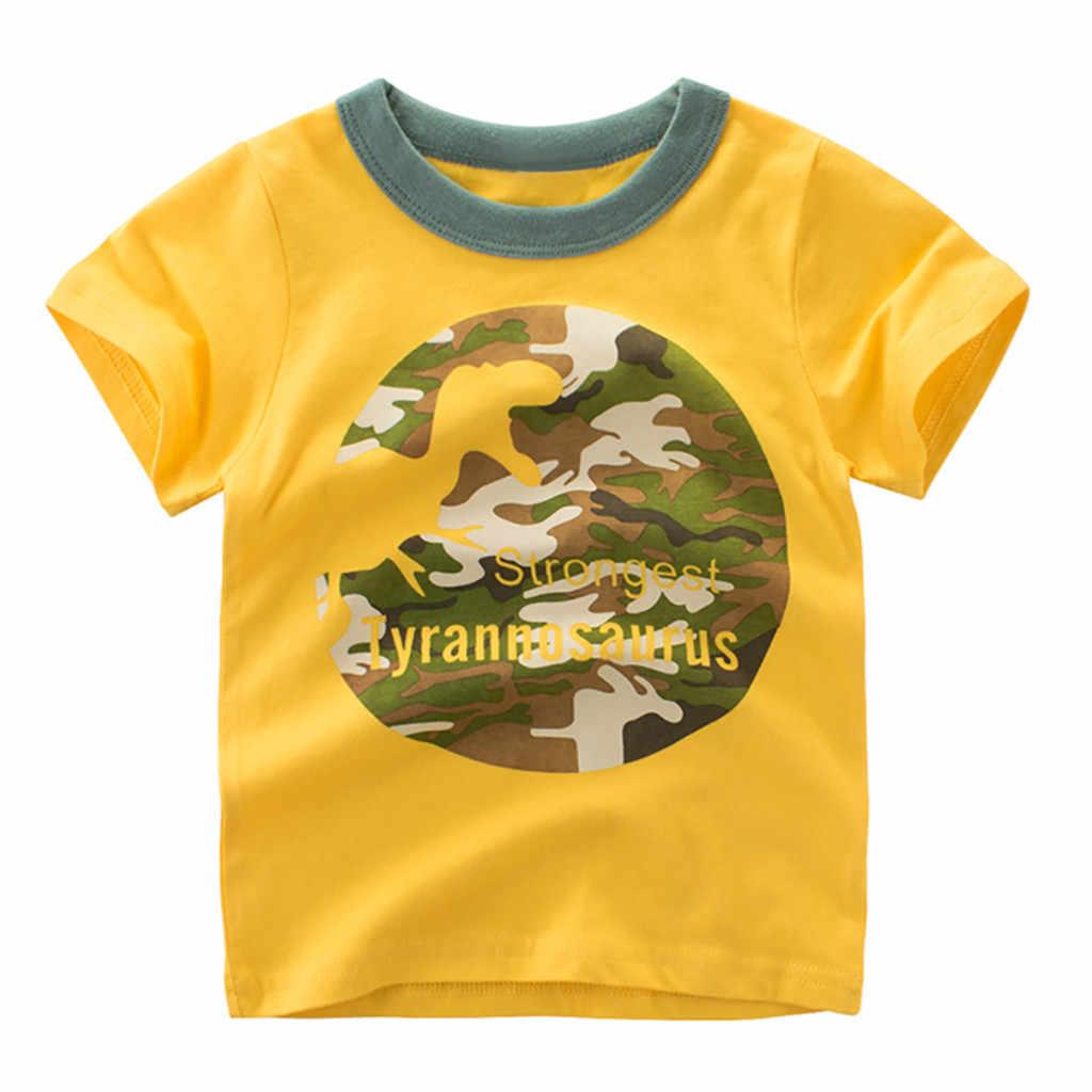 Kids Child T Shirt Toddler Kids Boys Cartoon  Tops Camouflage Dinosaur T Tshirt 1Pcs Outfits Summer Casual Short Sleeves