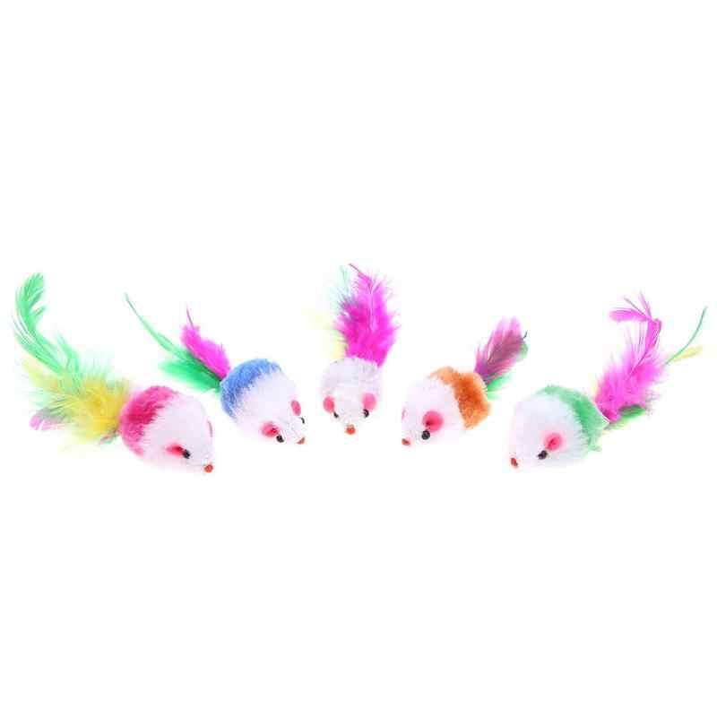 1 قطعة ألعاب القط كاذبة ماوس التفاعلية البسيطة مضحك الحيوان اللعب اللعب مع صوت خشخيشة للقطط هريرة الملونة ريشة القط