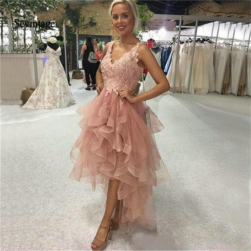Sevintage V Neck Knee Length Lace Cocktail Dresses High Low Vestidos De Gala Appliques Tulle Homecoming Gowns Robe De Cocktail