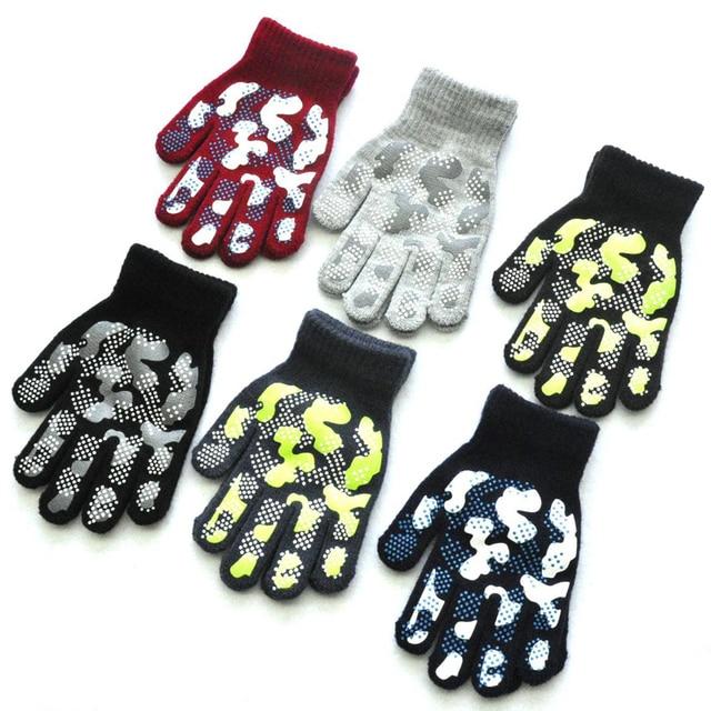 WARMOM 5-11 Year Children Winter Warm Knit Gloves Camouflage Color PVC Anti-slip Gloves Children Outdoor Sports Gloves Mittens 3