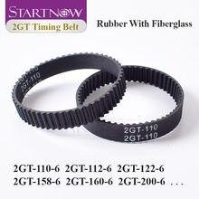 Startnow 2gt série fechado loop correia dentada para peças de impressora 3d borracha gt2 6mm 2gt-110 112 122 200 300 610 852 correia síncrona