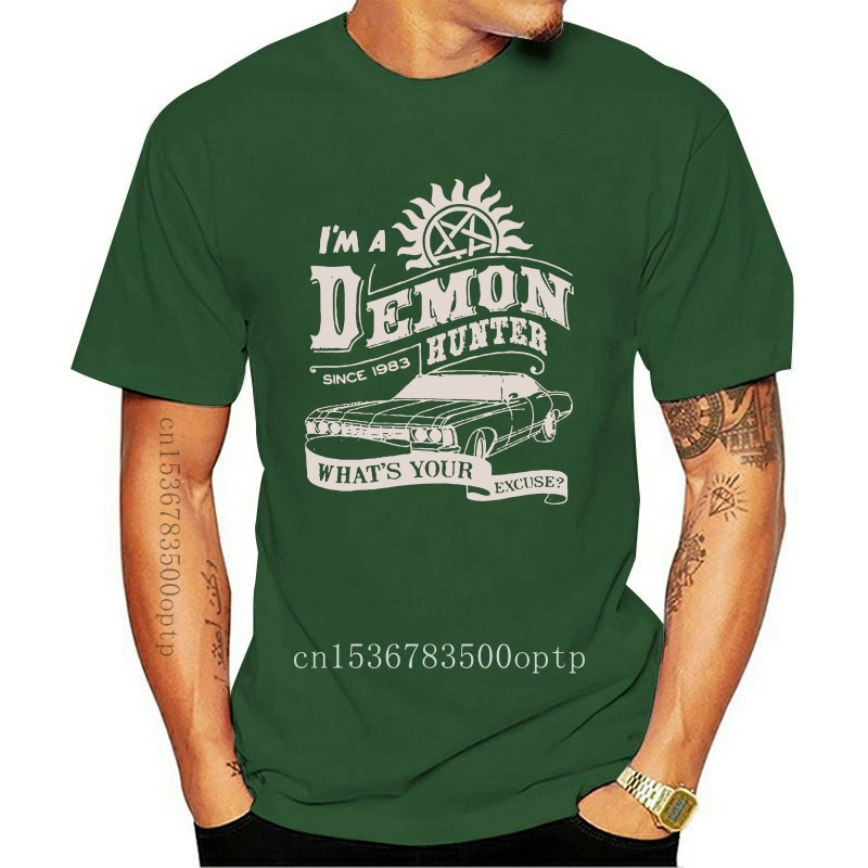 Men's Demon Hunter Supernatural T Shirt Spn Brothers Angel Winchester Dean TV Shows Cotton Short Sleeve Tees Printed T-Shirt