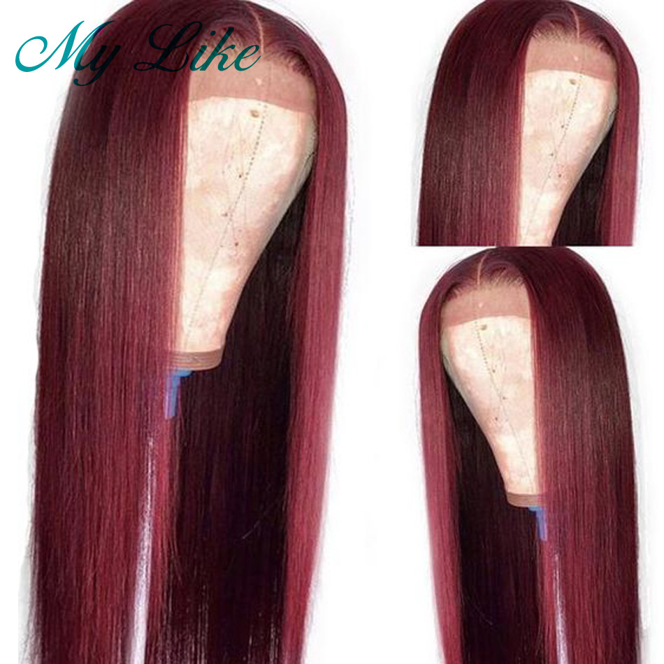 Frontal-Wigs Human-Hair Straight 360-Lace Like Brazilian 100%Burgundy My with Remy Wigs/10/24-Pre-Plucked