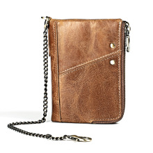цены Hot Crazy Horse Chain Wallet Men Genuine Leather RFID Wallets Mini Coin Purse Short Male Clutch Walet Mens Card Holder Money Bag