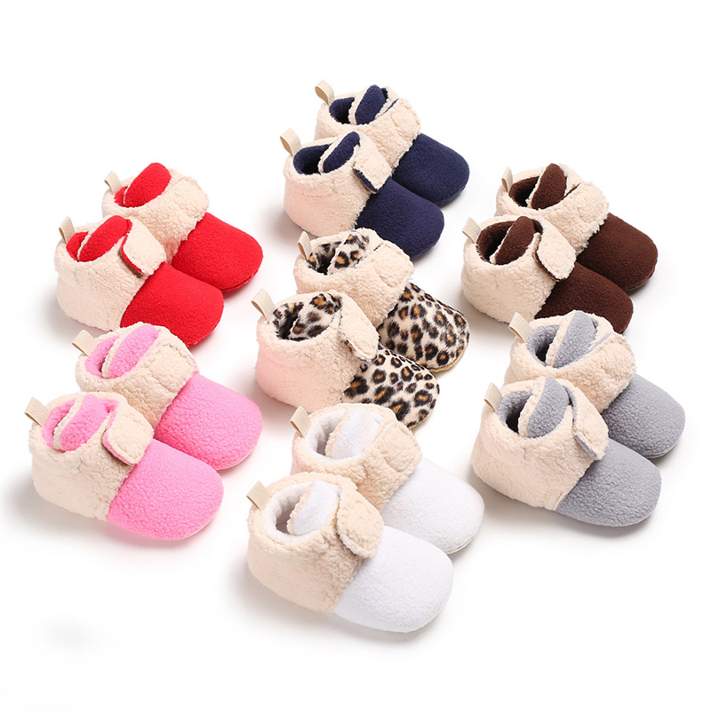 Lovely Winter Warm Toddler First Walkers Shoes Leopard Lambskin Baby Moccasins Bebe Velcro High Up Splice Shoes For 0-18M