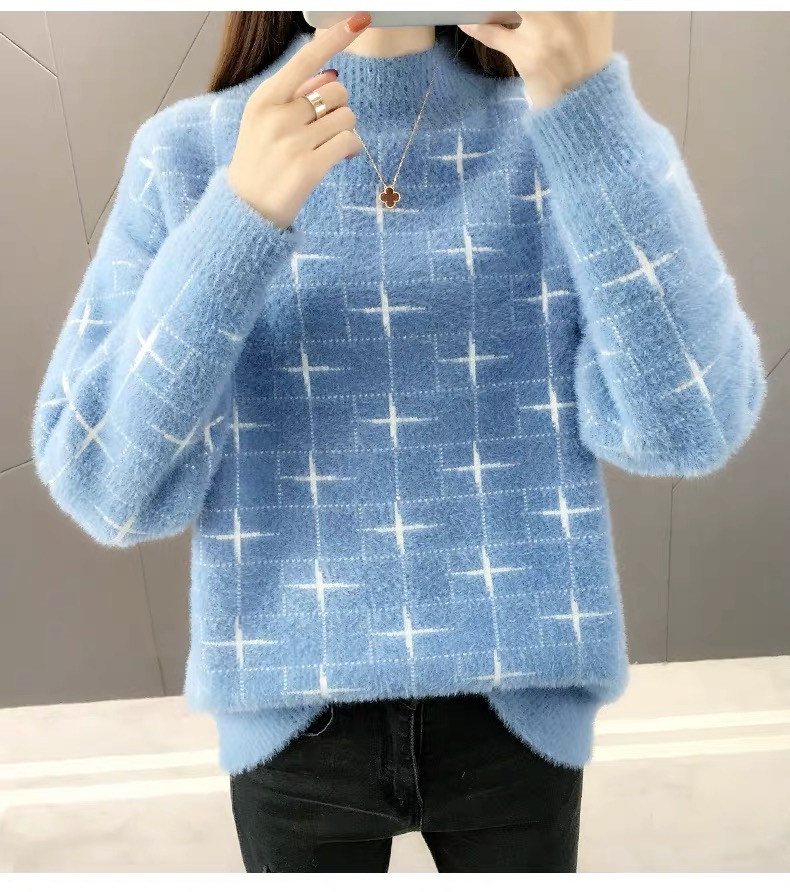 Blue Sweaters Women Knitted Pullover Warm Pattern Mohair  Orange  Thick Plush Wool Winter Warm Autumn Loose  Soft Fur Cashmere