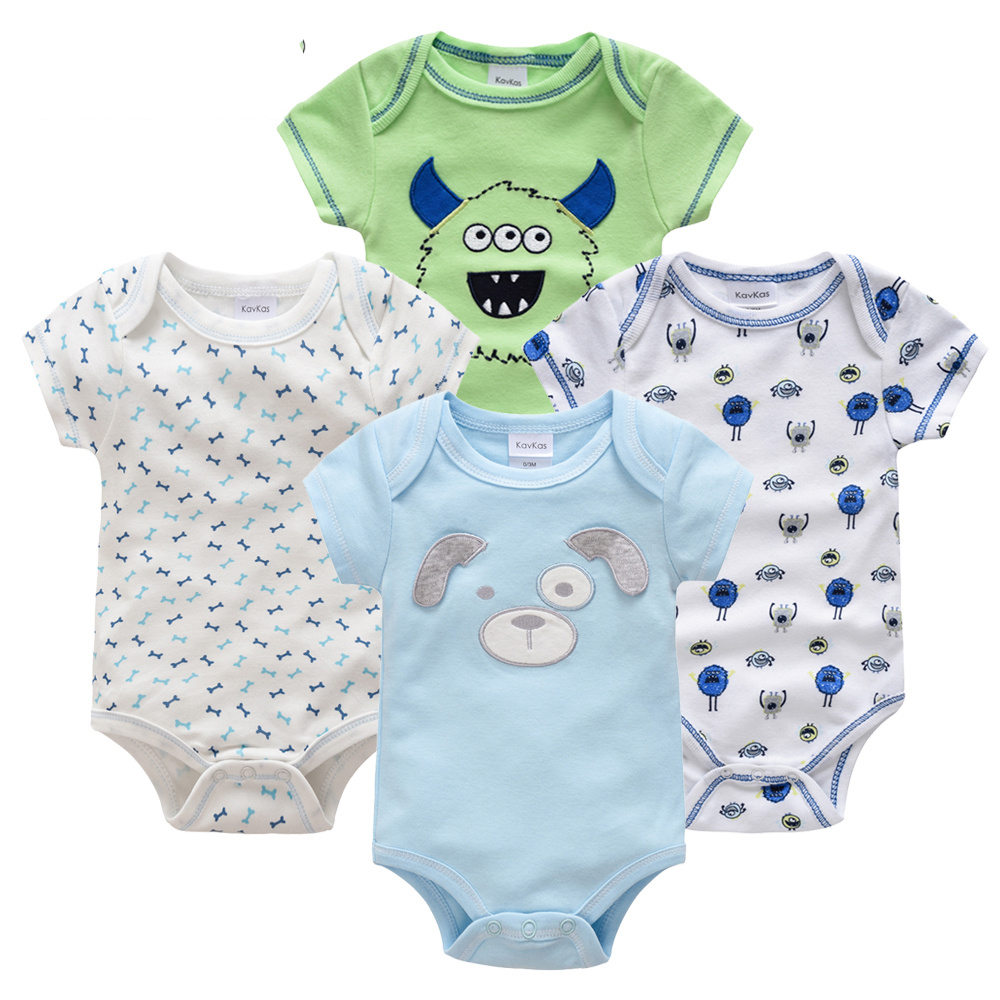 Honeyzone Пижама для младенцев 4 шт./компл. короткий рукав новорожденных Пижама для маленьких мальчиков/младенцев Одежда для маленьких мальчиков bossa nova - Цвет: HY21692171