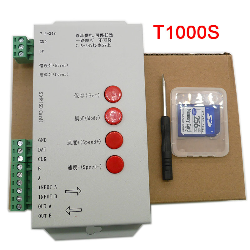 Wholesale T1000S Controller For WS2801 WS2811 WS2812B LPD6803 LED 2048 RGB Pixels Strip Light With 256 SD Card,DC5~24V