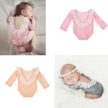 Newborn Baby Photography Props Outfit Lace Girl Romper Jumpsuit Photo Shoot Costume Clothing