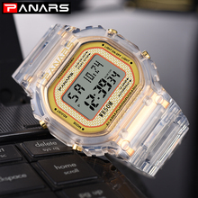 PANARS Rectangle Transparent Luxury Men Watch Digital 2019 Outdoor Sports Watches Mens Waterproof LED Wrist Women