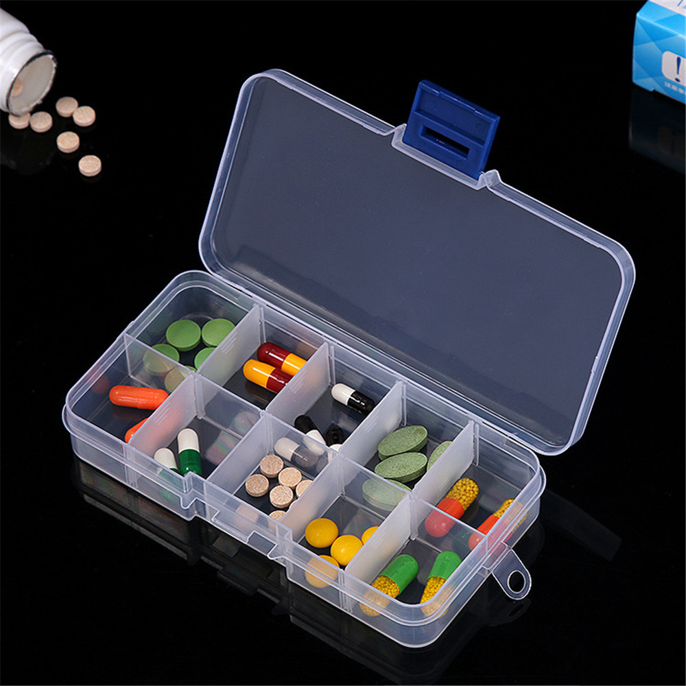 Portable 10 Compartments Transparent Pill Organizers for Storage of Tablets and Capsules in Large Size 2