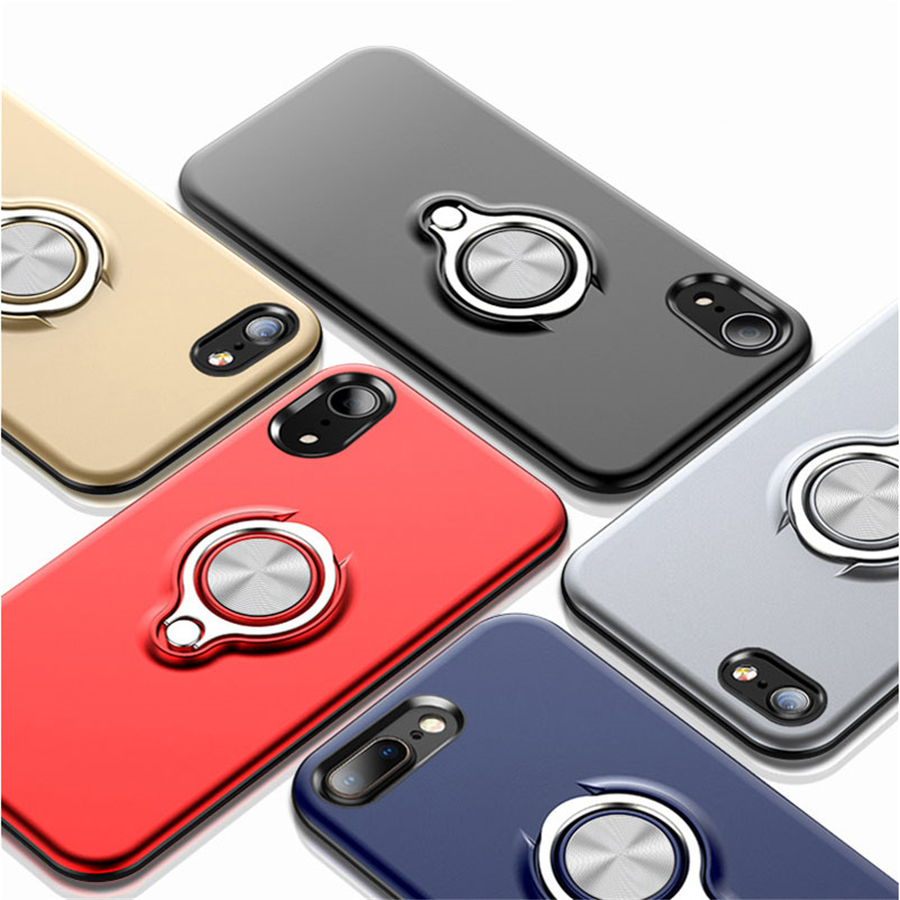 Magnetic Finger Ring Holder Phone Case For iPhone XS MAX XR X 7 8 6 <font><b>6S</b></font> Plus Slim Cases <font><b>360</b></font> Degree Rotation Car Holder Cover image