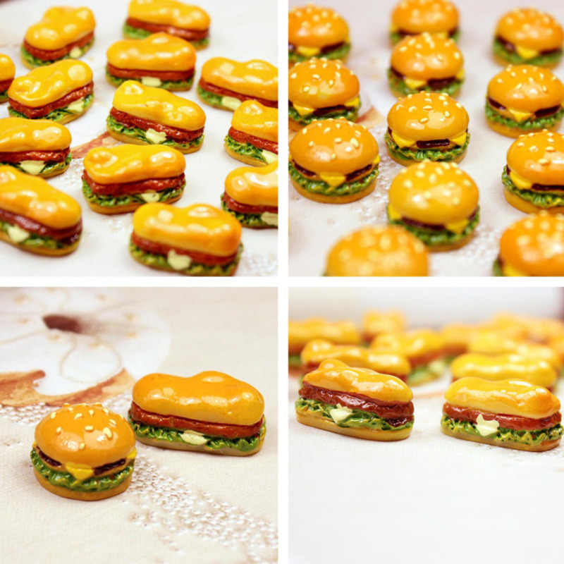 10 Uds Mini simulación comida hamburguesa juguetes de cocina juego de simulación DIY ornamento Slime suministros decoración de teléfono accesorios de colgantes