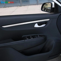 For Kia Rio 4 X line 2018 2019 ABS Matte /Steel Door Armrest Surface Shell Trim Cover Decorative Car styling Accessories 4pcs