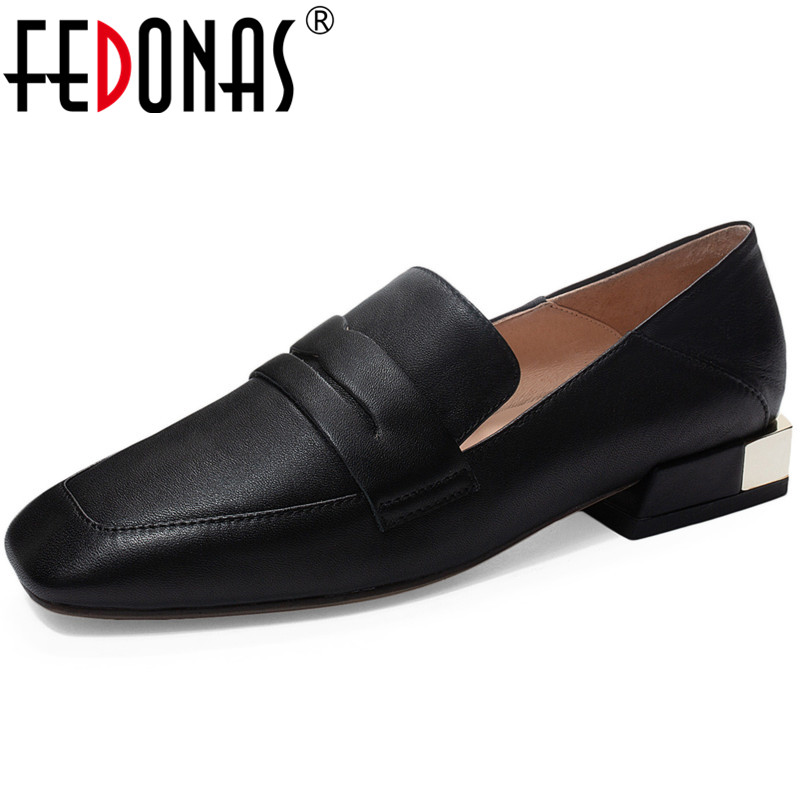 FEDONAS Classic Design Spring Summer Women Prom Working Pumps Square Toe  Concise Shoes Genuine Leather Thick Heels Shoes Woman