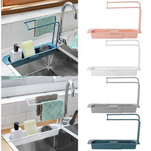 Teleskop Waschbecken Küche Abtropffläche Rack Lagerung Korb Tasche Wasserhahn Halter Einstellbar Bad Halter Waschbecken Küche Zubehör