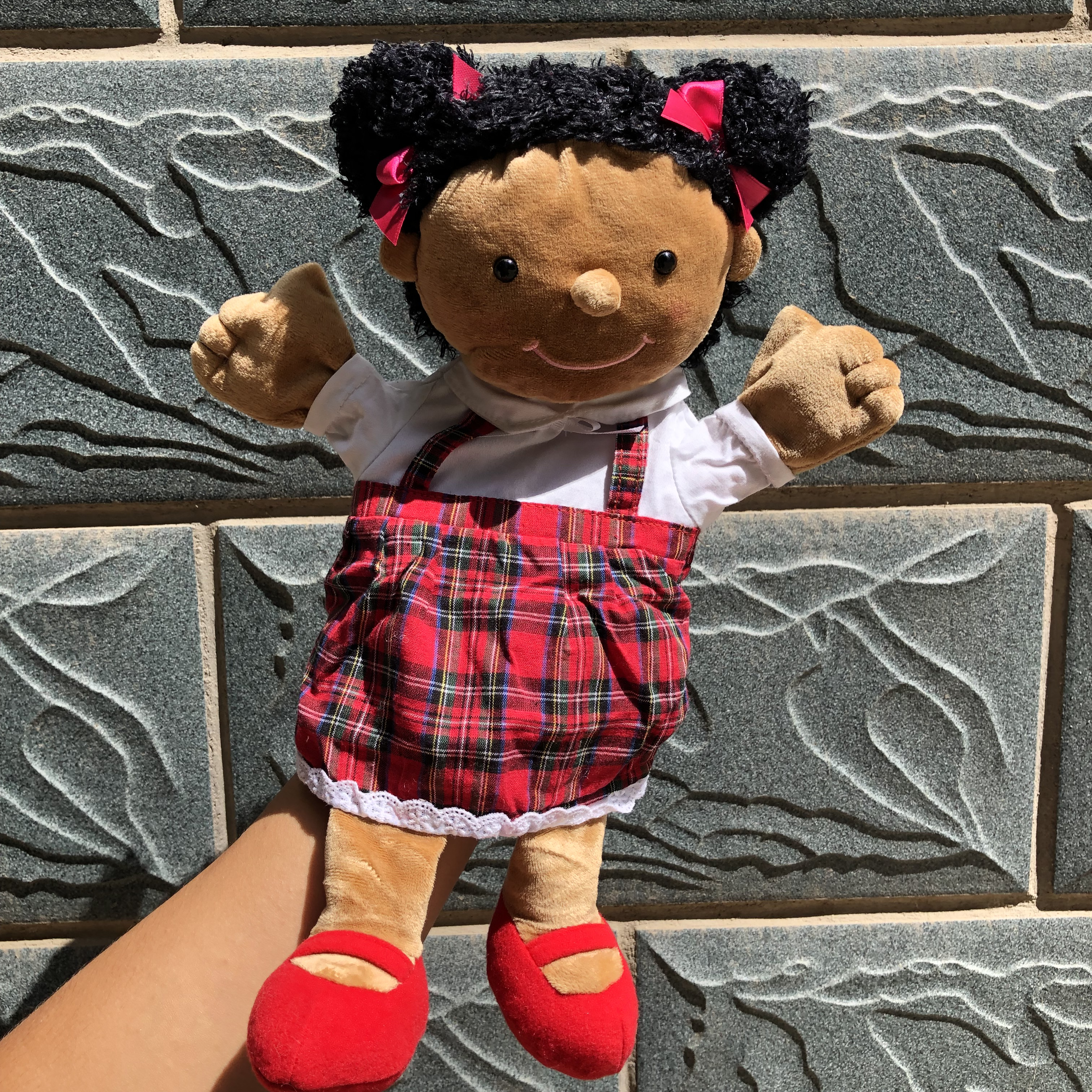 30cm Black People Children Maidservant Maid Humanoid Doll Plush Toys Hand Puppets Christmas Costume Props