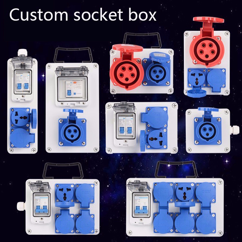 Industry Socket Distribution Box Portable Plastic Group Combine 16a 63a Waterproof Control Box 380v 220v Outdoor