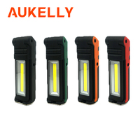 AUKELLY USB Rechargeable Working Light Dimmable COB LED Flashlight Inspection Lamp with Magnetic Base & Hook Outdoor Power Bank