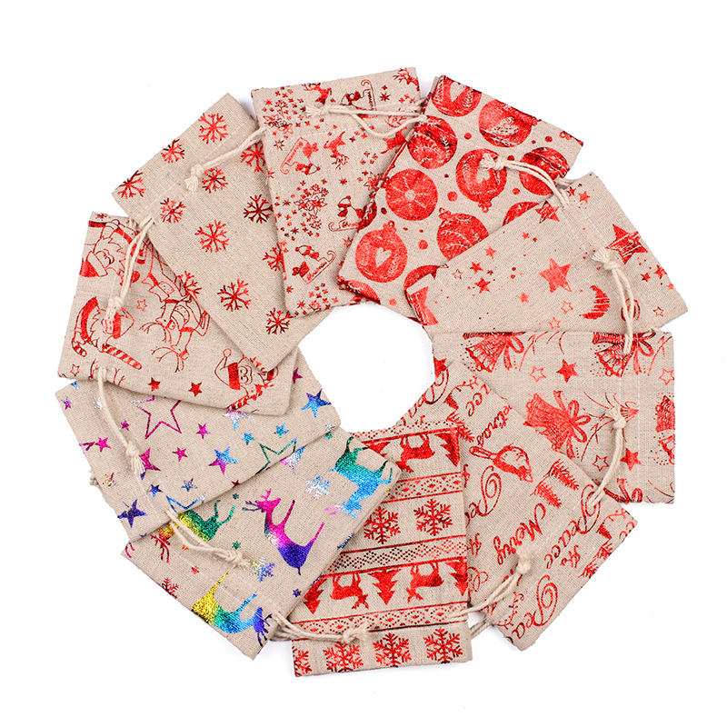 50pcs/lot 10x14cm Multi Designs Drawstring Candy Gift Packaging Bag Small Linen Pouches Christmas Party Favors Holder Bags