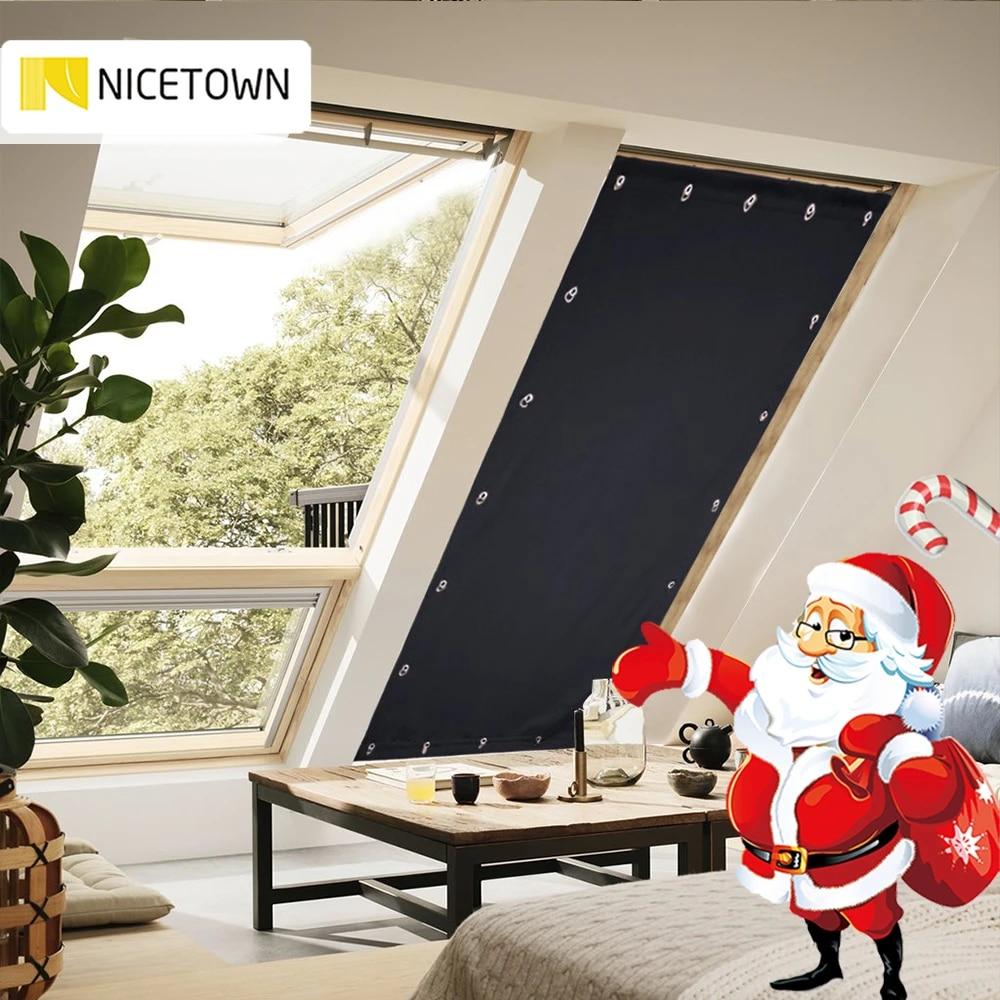 nicetown rideau occultant portable reglable avec ventouses pour chambre a coucher fenetre de toit de cuisine 129cm x 198cm 1 piece