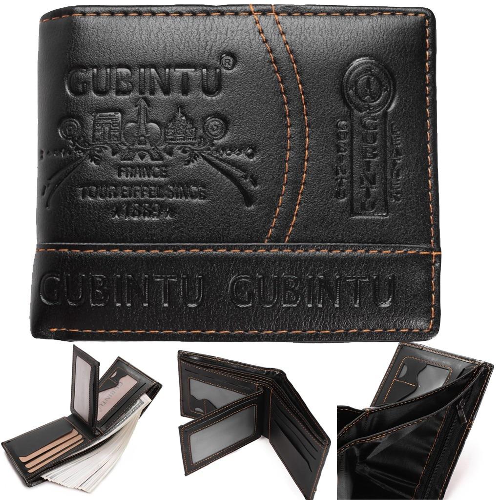 New Fashion Black Wallets GUBINTU Men Paris Leather Card Cash Receipt Holder Purse Organizer Bifold Wallet Purse Cartera #C11