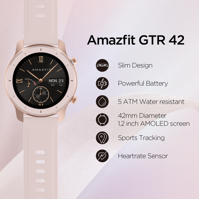 In Stock Global Version New Amazfit GTR 42mm Smart Watch 5ATM Smartwatch 12Days Battery Music Control For Xiaomi Android IOS 2