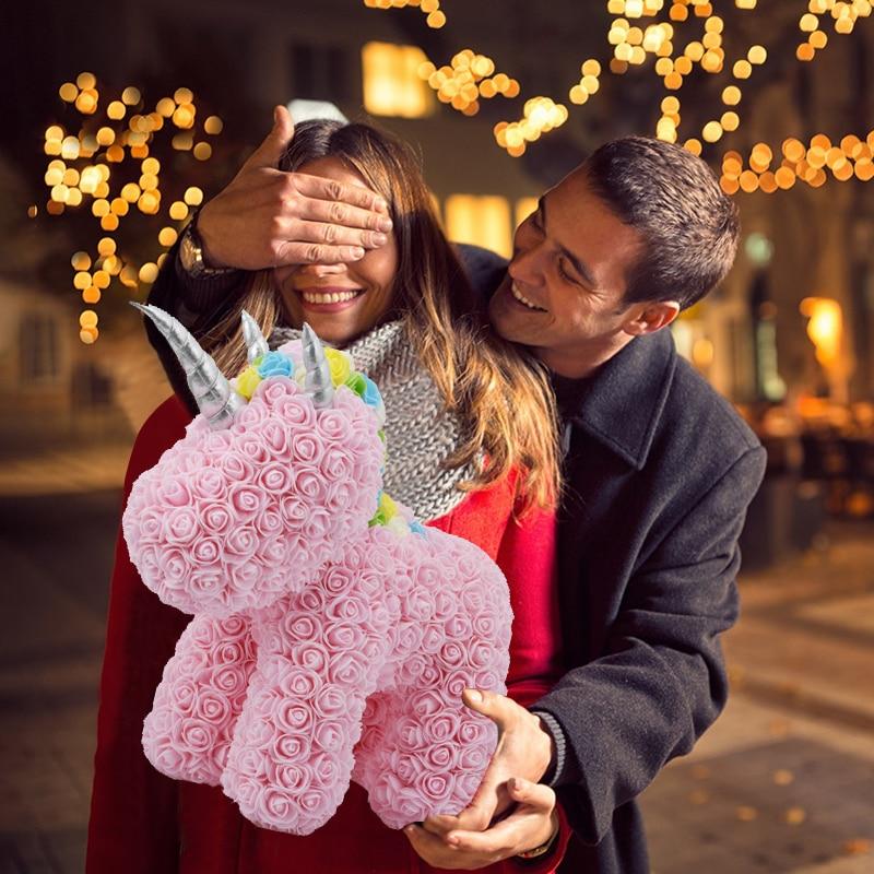 Прекрасный светодиодный Розовое Мыло с единорогом Искусственные цветы из пены игрушка единорог в подарочной коробке свадебный подарок, по...