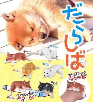 6 types Japanese capsule toy funny cute pet lazy Shiba Inu sleeping kneeling gashapon figure collectible fingertip kids toy gift