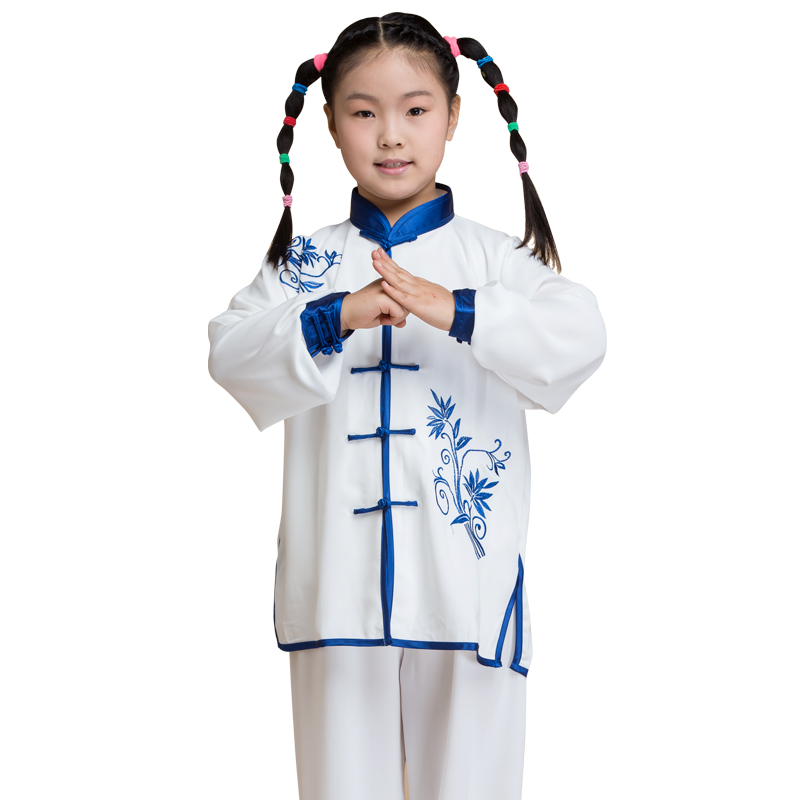 2019 Chinese Traditional Kung Fu Uniform Tai Chi Uniform Wushu Martial Arts Sets Chinese Clothing Embroidery Kids Children
