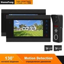 HomeFong wideodomofon do domu przewodowy System telefoniczny do drzwi wideo 2 monitory 1 Panel połączeń wykrywanie ruchu nagrywanie wsparcie odblokuj