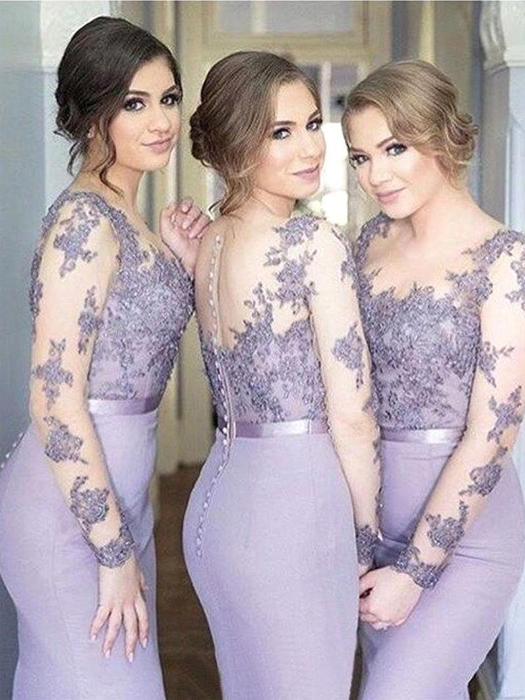Lavender Sheer Long Sleeve Bridesmaid Dresses 2020 Mermaid Satin Covered Button Back Plus Size Lace Formal Evening Prom Gowns