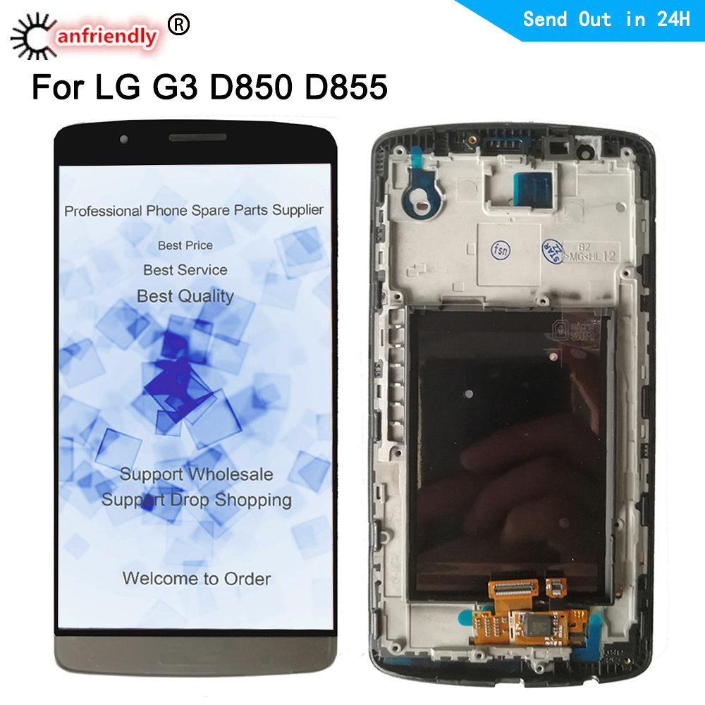 For <font><b>LG</b></font> <font><b>G3</b></font> D855 D850 LCD Display+Touch panel <font><b>Screen</b></font> sensor Replacement Digitizer with frame Assembly For <font><b>LG</b></font> Optiums G 3 <font><b>G3</b></font> lgg3 image