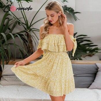 Conmoto-vestidos playeros sin hombros, vestido informal con volantes y lazo en amarillo y cintura elástica sexi para mujer de verano
