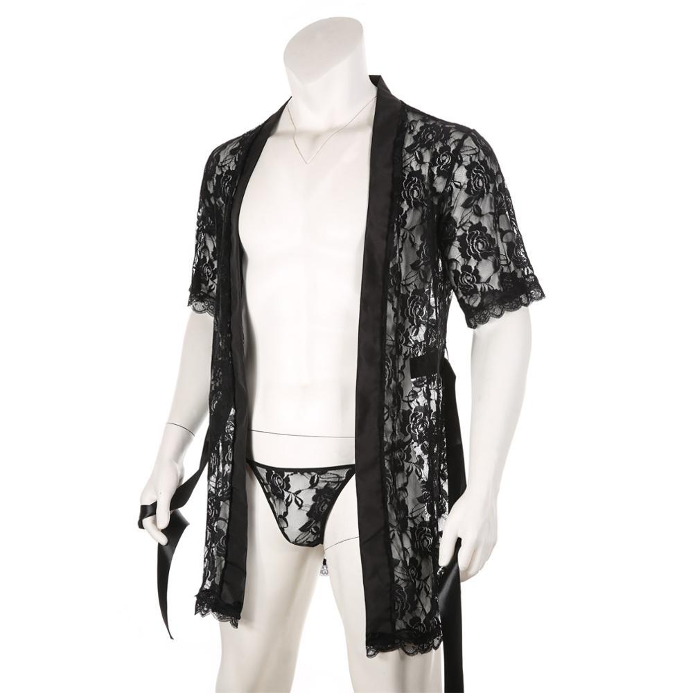 Lace Bathrobe Men Sexy Long Robe Nightwear Sleepwear Kimono Nightgown Loose Bath Gown Male Erotic Costume Home Wear with T-back