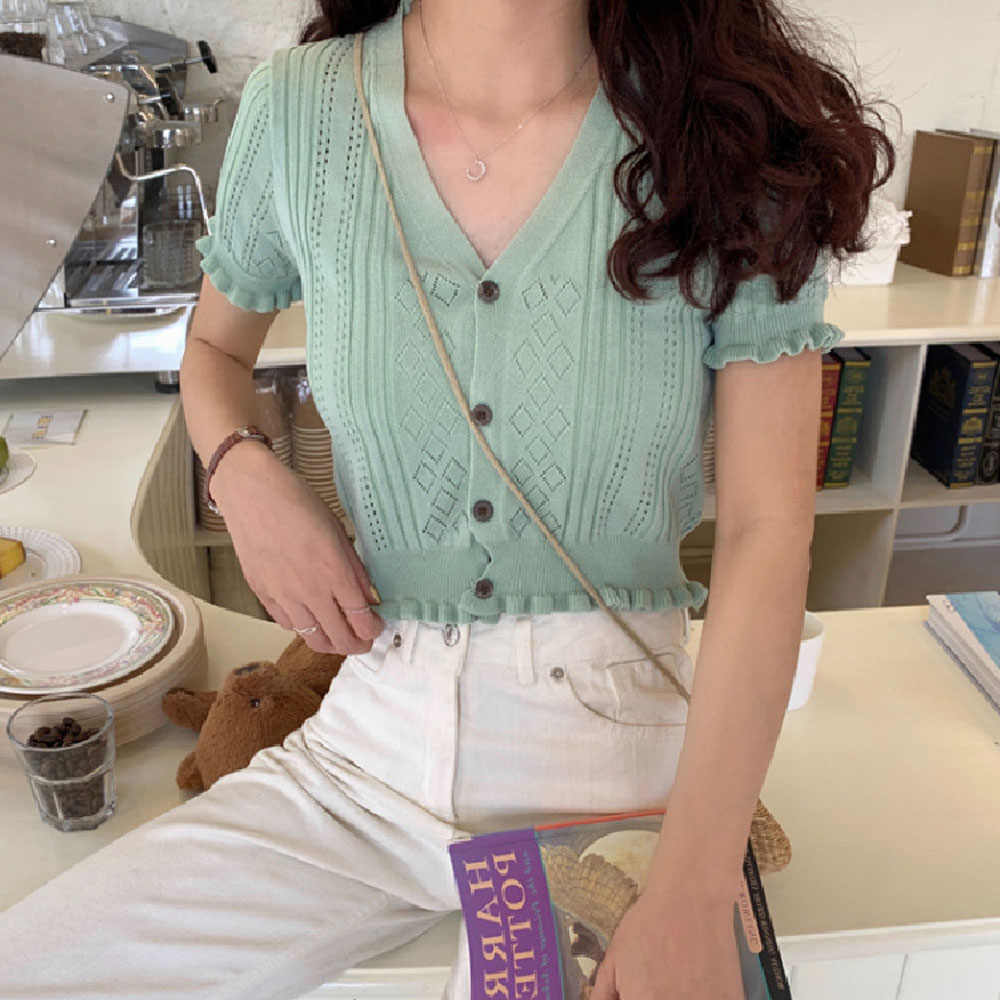 섹시한 딥 브이 넥 짧은 소매 니트 스웨터 슬림 자른 탑스 여성 단추 중공 크로 셰 뜨개질 스웨터 탑스 WDC4776