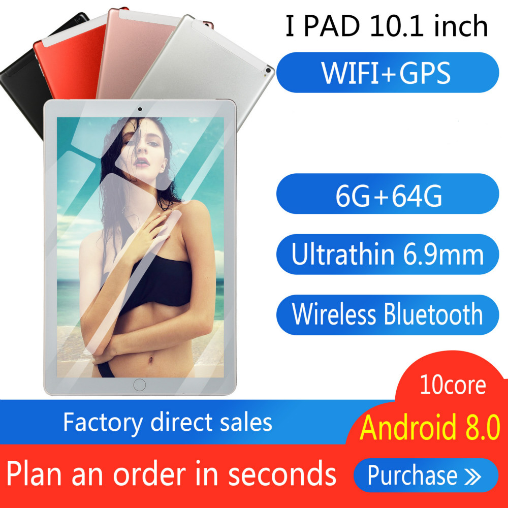 Newest 10 Inch Android8.0 Tablet PC Quad Core 4G RAM 64G ROM 4G Phone Call Dual Sim Cards Wifi/GPS Tablets For Kids