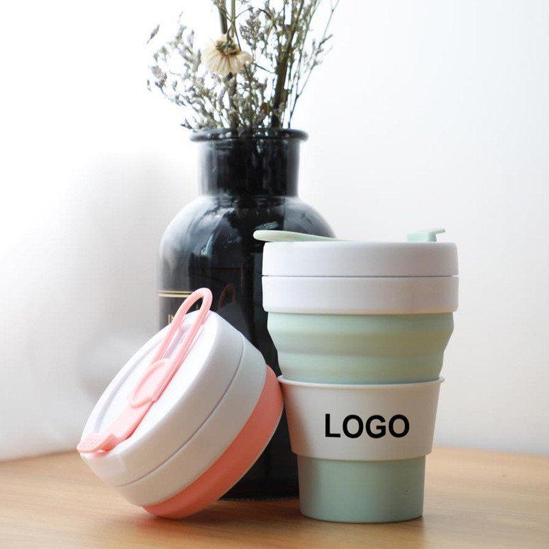 Folding Silicone Water Cup Portable Custom Logo Telescopic Drinking Collapsible Coffee Cup Multi-function Mug with Lids Travel