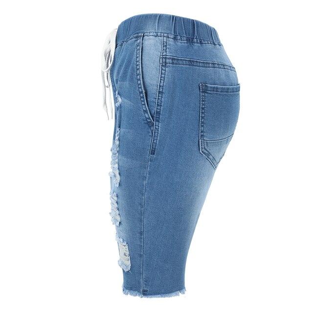 Summer Denim Ripped Bermuda Shorts Women Blue Drawstring Closure Distressed Knee Length Stretch Short Jeans 3