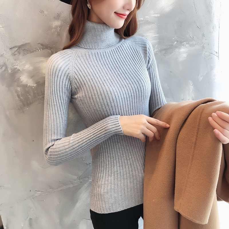 Herbst Rollkragen Pullover Weibliche 2019 Winter Kaschmir Gestrickte Frauen Pullover Und Pullover Weibliche Trikot Jersey Jumper Pull Femme