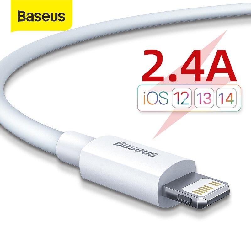 Baseus 2.4A USB kablosu iPhone 11 11 Pro 8 X Xr 2 adet hızlı şarj USB kablosu Data Sync kablo telefon şarj kablosu tel kordon