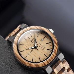 Image 4 - BOBO kuş ahşap İzle erkekler relogio masculino hafta ve tarih ekran saatler moda rahat ahşap saat erkek arkadaşı için en iyi hediye