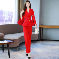 Vintage Female Suit Jacket With Belt Wide Leg Pant Suit Set Harajuku Women Coat 2019 Spring Elegant Outwear Lady Blazer