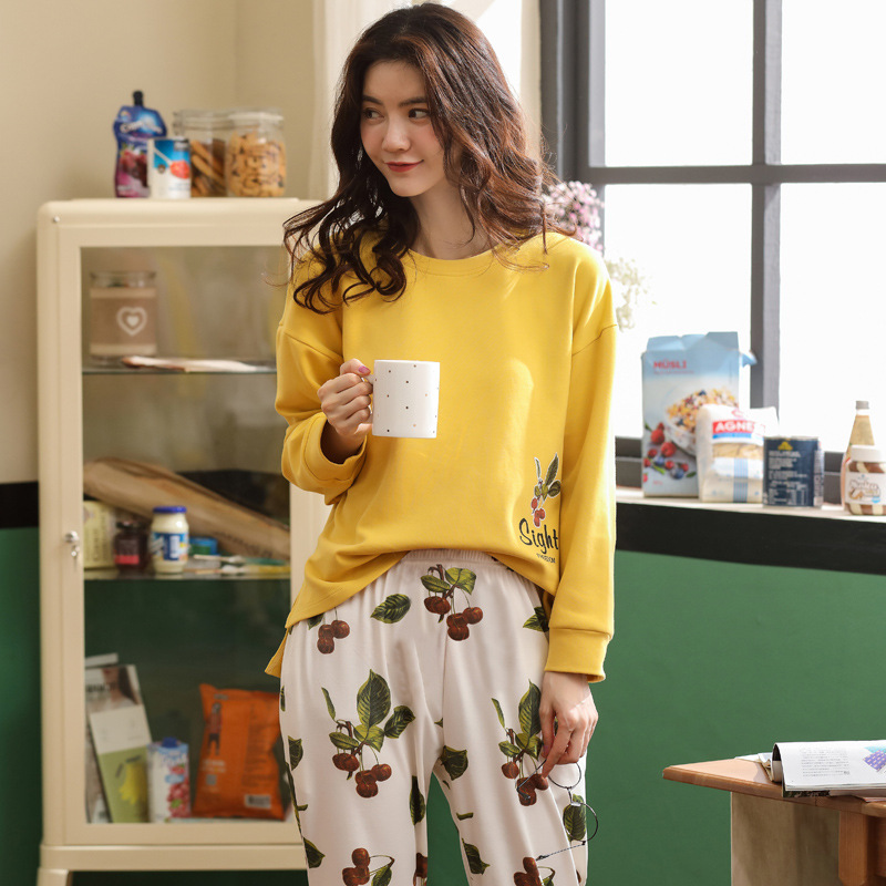 Women Winter Plus Size Warm Cotton Printing Top + Long Pant 2 Piece Sets Cute Cozy Pajamas Set Women Sleepwear Pyjama M L XL XXL