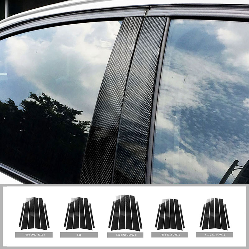Carbon Fiber Car Window B-pillars Decorative Sticker For BMW E60 E90 F30 F10 F20 F07 F25 E70 E71 E84 E46 Car Styling Accessories